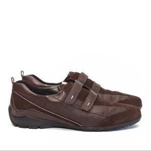 ECCO|| brown suede & leather sneakers velcro strap
